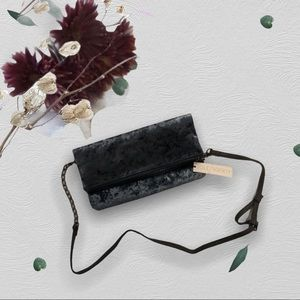 NWT Sole Society Blue Crushed Velvet Clutch